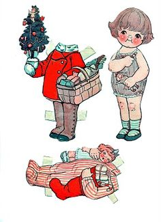 Free Printable - Vintage Christmas Paper Dolls