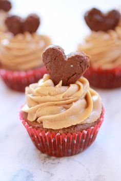 VALENTINE Fudge Brownie Cupcakes with Peanut Butter Frosting. Put some LOVE into your cupcakes! For Valentines Day. Peanut Butter Frosting + Fudgey Brownie Cupcakes + Peanut Butter = Awesomeness! #valentine #cupcakerecipes http://thecupcakedailyblog.com/valentine-fudge-brownie-cupcakes-with-peanut-butter-frosting/