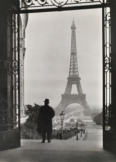 Man looks out on the Eiffel Tower, Clifton R. Adams, National Geographic