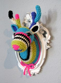 Crocheted deer head