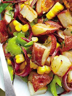 Slimming Superfood Recipe: Roasted-Potato Salad With Sweet Corn and Cider Vinegar #SELFmagazine potato salads, roasted potatoes, diet food recipes, diet foods, roast potato, roasted potato salad, superfood recip, slim superfood