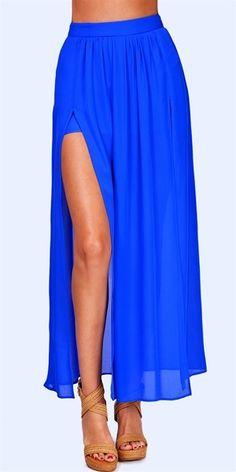 Pleated Slit Maxi Skirt - Cobalt