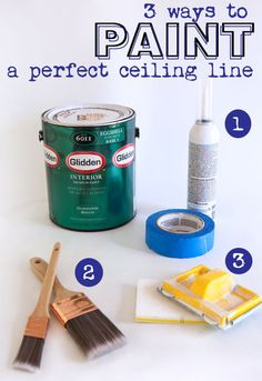 Tips on how to paint a perfect line between a wall and a ceiling.