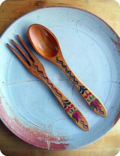 hand painted wooden spoon and fork.