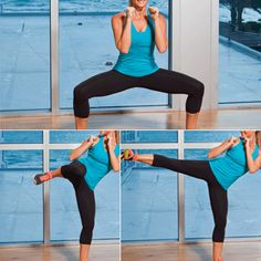 Top 10 Moves to Tone Your Trouble Zones  PROBLEM: Saddlebags  SOLUTION: Side Kick and Horse Stance