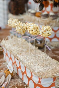 cute, this looks like a mini haystack wrapped with a fall colored fabric..then cake pops or popcorn ball pops...adorable!