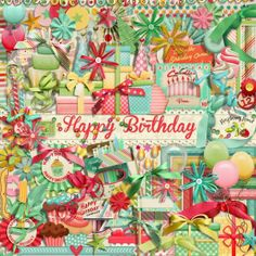 A birthday themed scrapbook scrapbook collection from Raspberry Road.