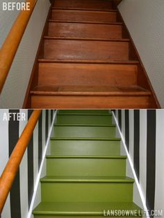 Painted staircase makeover......I love the combo of the green stairs and the striped walls,,,,oh yeaaa!