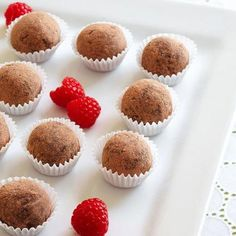 Raspberry Truffles, five-ingredients treats that go together in a snap. More holiday desserts: http://www.midwestliving.com/food/holiday/30-best-holiday-dessert-recipes/page/3/0