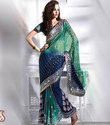 saris, color, blue faux, green, indian cloth, faux georgett, fashion cloth, blues, sare