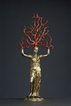 Sculpture of Daphne turning into a tree, probably gilt silver, with coral branches, Jamnitzer Wenzel, approx 1550