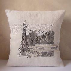 Cushion antique line eiffel tower