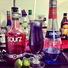 PURPLE RAIN 1 oz. (30ml) vodka 1 1/2 oz. (45ml) Cherry Sourz 1 1/2 oz. (45ml) Blue Curacao 1/2 oz. (15ml) Lime Juice Top with Soda...