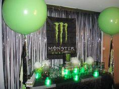 dessert tables, birthday desserts, drink birthday, monster energy birthday party, energi drink, birthday parties, monster energi, monster energy party, energy drinks