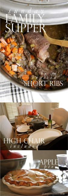 Fall Recipes : Braised Short Ribs & Apple Pie       *Post includes table setting ideas and products.  http://jennysteffens.blogspot.com/2013/09/braised-short-ribs-cozy-sunday-supper.html