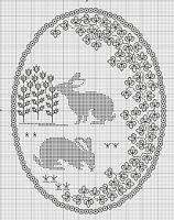 Gallery.ru / Фото #2 - Blackwork_animals - CrossStich borduren, black work, galleryru, embroideri mathemat, crossstitch, crafti stuff, broderi, bunny cross stitch pattern, blackwork bunni