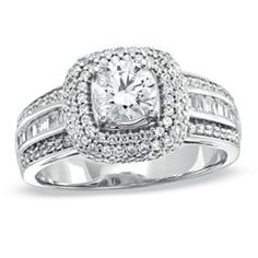 1-1/4 CT. T.W. Diamond Square Frame Engagement Ring in 14K White Gold - Clearance - Zales