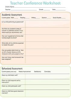 Parent/Teacher Conference Worksheet