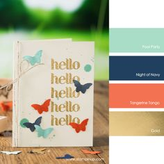 Pool Party, Night of Navy, Tangerine Tango, Gold #StampinUpColorCombos