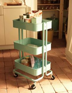 RASKOG Steel Trolley in Turquoise. Also comes in Grey. Available at IKEA -April 2012. It's way too pretty to keep in only the kitchen!!! Here's hoping it's sturdy, too...