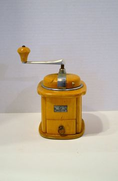 Vintage German Mocca Coffee Grinder Wood Chrome by PanchosPorch, $52.00