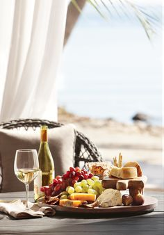 wine, fruit and cheese