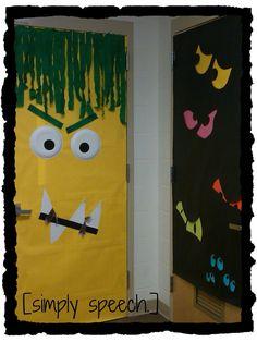 bulletin board!!!! bulletin board, halloween door, eye