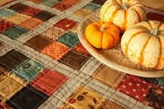 Cute Fall quilt (I really like the cream colored sashing)