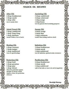 silverwitch-Magick Oil Recipes