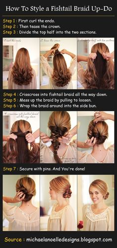 How to do a Fishtail Braided Up-Do - not really sure why one would spend time curling the ends of a braided style... But it's adorable!