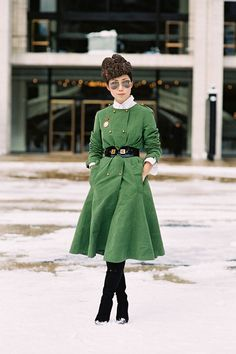 hats, soldier, vanessa jackman, fashion weeks, dresses, street styles, green dress, new york fashion, coats