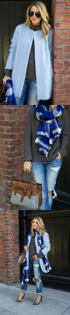 Blues & Plaid    http://galmeetsglam.com/2013/12/blues-plaid/