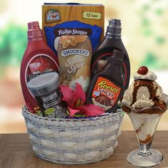 I Scream You Scream Ice Cream Gift Basket-- Keebler Waffle Cones, Smuckers caramel sundae syrup, Hershey's chocolate and strawberry Syrup, Magic shell, chocolate fudge topping and Hershey's chocolate sprinkles.