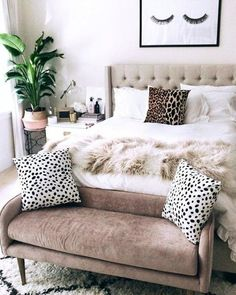 a bedroom with boho