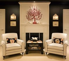 decor, living rooms, black walls, fireplac, upholstered chairs, black white, accent chairs, sitting areas, accent walls