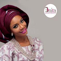 Nigerian wedding purple & blue stripe aso-oke by Molbaks makeup by Anita brows beauty, beads by Gee Balo photo by Tap studios