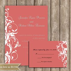 coral damask invitations
