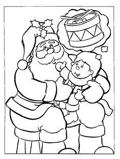 Santa Claus with Baby on Christmas Day Coloring Pages