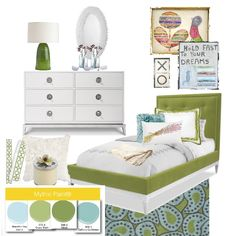 Greens and blues color scheme for a young girls room using Mythic® paint.
