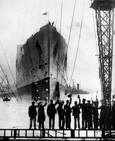 Ship builders in Belfast bidding farewell to the ship they just completed - the #Titanic - 1912