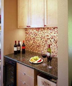 #DIY Wine Cork Kitchen Wall