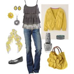 Yellow and grey, created by kristen-344 on Polyvore