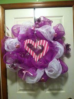 Deco Mesh Pink Valentines Wreath