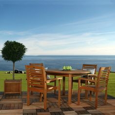 Ibiza Eucalyptus Round Patio Dining Set