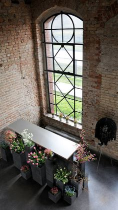 arch window, fresh flowers, brick pic
