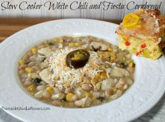 Slow Cooker White Chili (naturally gluten-free) and Fiesta Cornbread (includes adaptation to make it gluten-free) white chicken chili, food, chilis, cornbread, fiestas, slow cooker, cooker white, cooking tips, white chili
