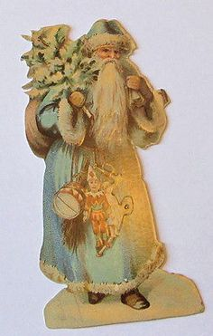 NEW VICTORIAN HIGH QUALITY THICK EMBOSSED BLUE CHRISTMAS SANTA DIE CUT SCRAP
