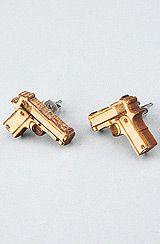 karmaloop, guns, gun earring, stud earrings, babi gun, bangs, bang babi, bang bang