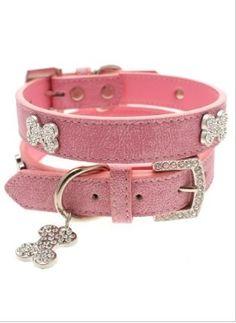 Pink Leather Diamante Collar & Diamante Bone Charm & Leash - Leather Collars Posh Puppy Boutique