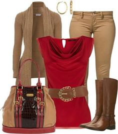 Red and brown outfit